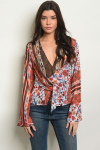 S16-7-2-T304598 RED WITH FLOWER PRINT TOP 3-2-2
