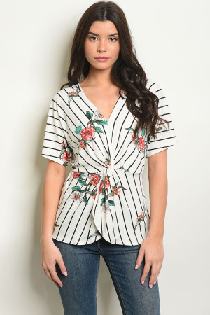 C90-B-6-T50868 IVORY FLORAL TOP 2-2-2