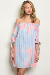 S7-9-2-D1808 MAUVE STRIPES DRESS 2-2-2