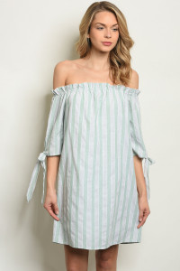 S7-8-2-D1808 GREEN STRIPES DRESS 2-2-2