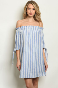 S7-8-3-D1808 BLUE STRIPES DRESS 2-2-2
