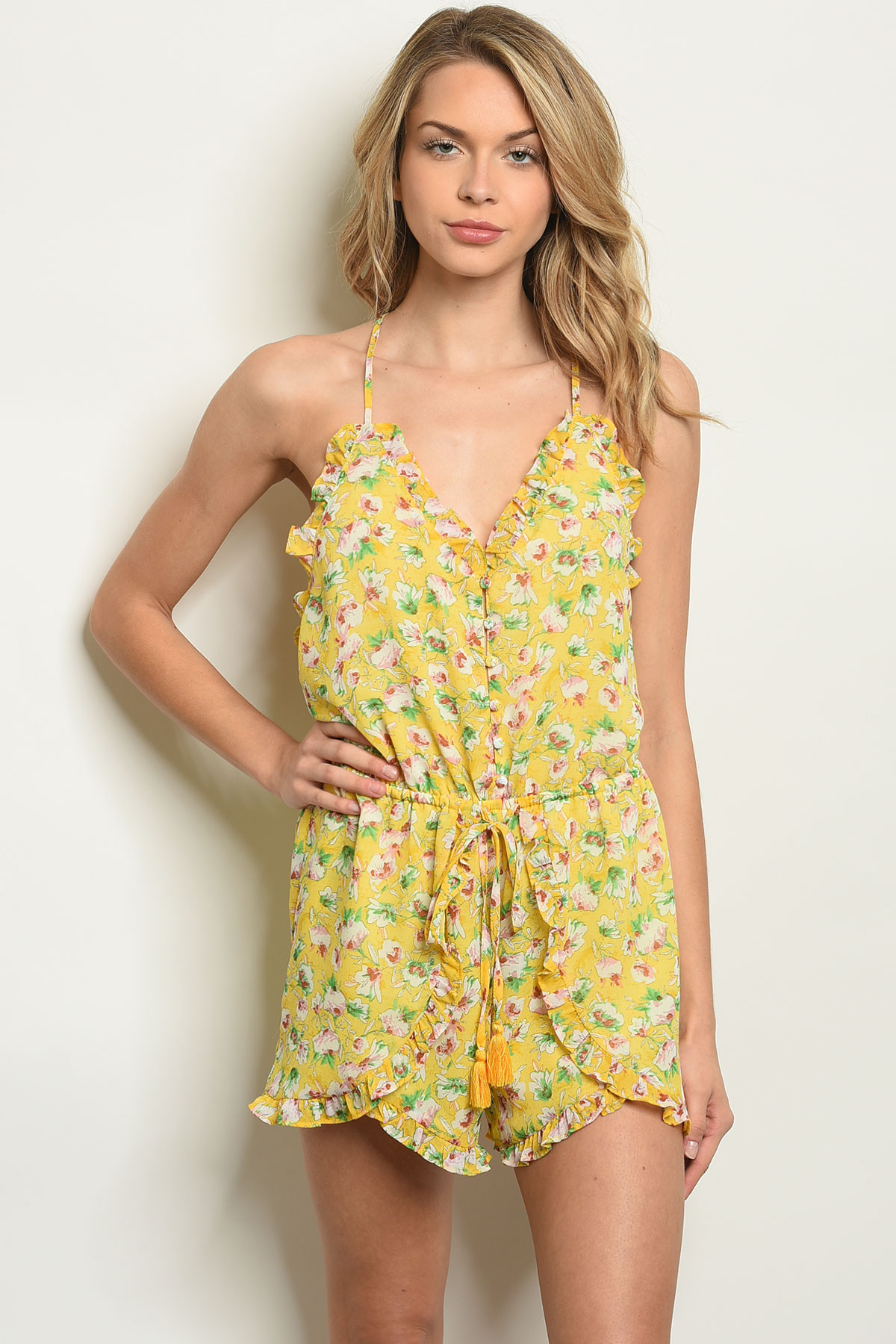 shop for authentic lovely luster utterly stylish S10-6-1-R1525 YELLOW FLORAL ROMPER 3-2-1
