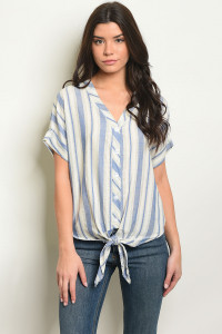 C63-B-1-T15585 BLUE STRIPES TOP 1-2-2