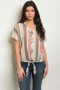 C63-B-1-T15585 BROWN STRIPES TOP 1-2-2