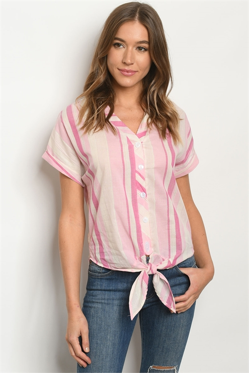C64-B-2-T15585 PINK STRIPES TOP 2-2-2