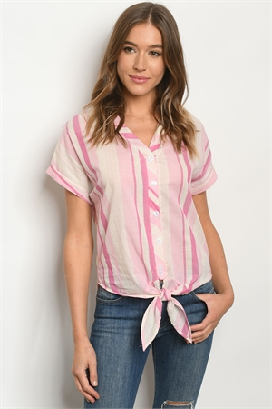 S17-2-1-T15585 PINK STRIPES TOP 1-1-1