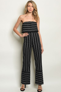 C34-A-2-J6717 BLACK STRIPES JUMPSUIT 2-2-2