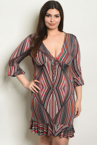 C49-A-1-D2284X MULTI PRINT PLUS SIZE DRESS 1-2-1