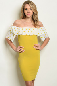 C54-A-4-D23486 MUSTARD WITH POLKA DOTS DRESS 2-2-2