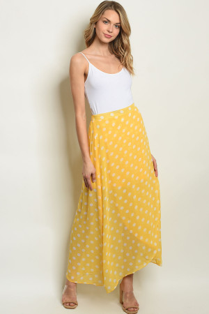 S8-8-1-S19859 YELLOW WHITE WITH DOTS SKIRT 2-2-2