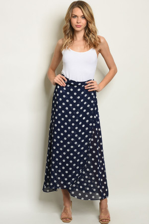 S8-8-1-S19859 NAVY WHITE WITH DOTS SKIRT 2-2-2