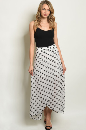 S8-8-1-S19859 WHITE BLACK WITH DOTS SKIRT 2-2-2