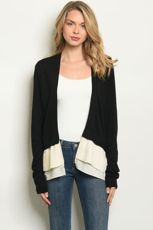 SA3-6-4-C5610 BLACK CREAM CARDIGAN 1-2-2-1