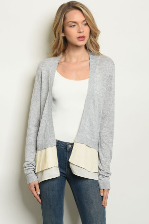 SA3-6-4-C5610 GRAY CREAM CARDIGAN 1-2-2-1
