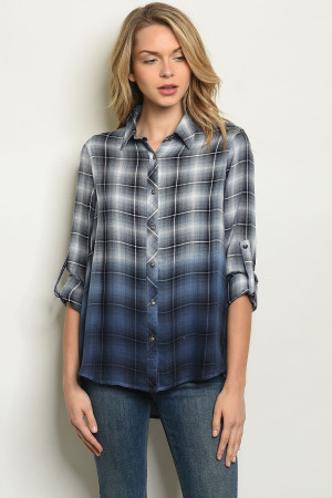 S3-5-4-T2180 BLUE CHECKERED TOP 1-2-2-1