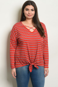 C16-B-1-T50355X RED STRIPES PLUS SIZE TOP 2-2-2