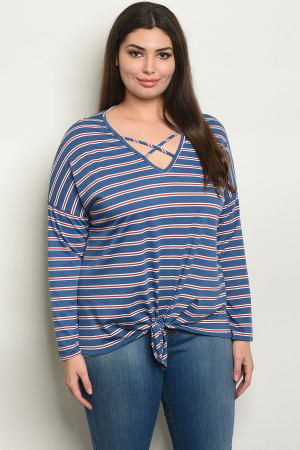 74482b8eaafcc Quick View this Product S16-B-1-T50355X BLUE STRIPES PLUS SIZE TOP 2-2-