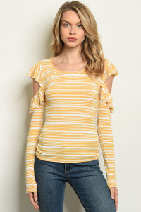 C26-B-3-T30451 MUSTARD STRIPES TOP 2-2-2