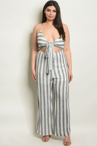 S11-20-3-J80004X GRAY STRIPES PLUS SIZE JUMPSUIT 2-2-2