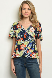S18-10-4-T283 NAVY FLORAL TOP 2-2-2-2