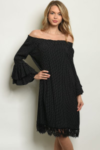 SA3-4-4-D324 BLACK WITH DOTS DRESS 2-2-2