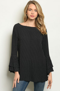 S21-8-2-T326 BLACK WITH DOTS TOP 3-3-2