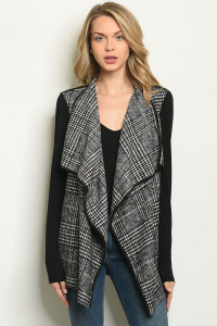 S2-6-5-C943 BLACK CHECKERED CARDIGAN 2-2-2