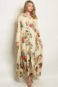 S19-103-D0014X CREAM FLORAL PLUS SIZE DRESS 1-3