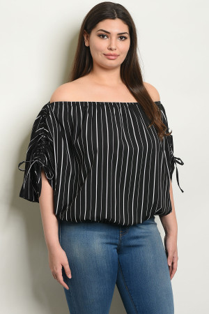 45c5dca34bb Quick View this Product S3-4-3-T7075X BLACK STRIPES PLUS SIZE TOP 2-2-