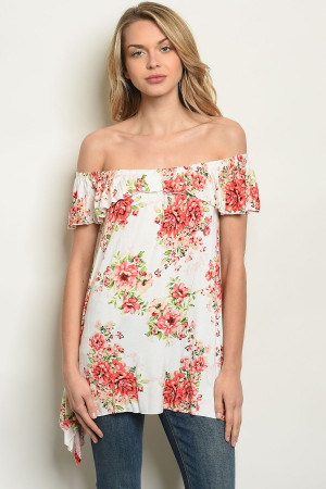C78-A-4-T61450 OFF WHITE FLORAL TOP 2-2-2