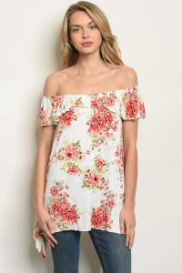 C77-A-1-T61450 OFF WHITE FLORAL TOP 1-2-2