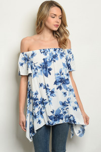 C82-A-4-T61492 OFF WHITE BLUE FLORAL TOP 2-2-2