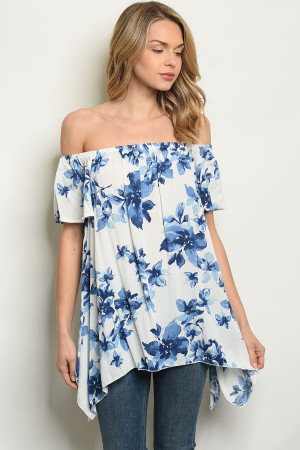 S17-3-2-T61492 OFF WHITE BLUE FLORAL TOP 1-1-1