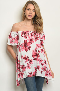 C86-A-3-T61492 OFF WHITE PINK FLORAL TOP 2-2-2