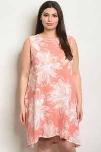 C89-A-2-D2071X PEACH WITH FLOWER PLUS SIZE DRESS 2-2-2
