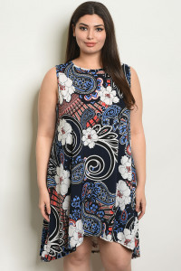 C85-A-1-D2071X NAVY PRINT PLUS SIZE DRESS 2-2