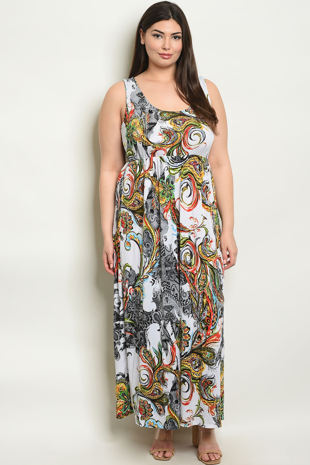 ec06e2c13b18 ... WHITE PRINT PLUS SIZE DRESS 2-2. Larger Photo ...