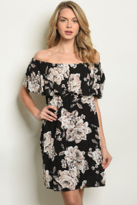 C92-A-3-D20506 BLACK TAUPE FLORAL DRESS 2-2-2