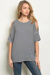 C28-B-3-T30083 NAVY STRIPES TOP 2-2-2