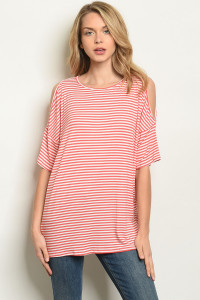 C28-B-3-T30083 CORAL STRIPES TOP 2-2-2