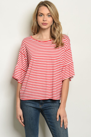 C32-B-2-T50174 RED STRIPES TOP 2-2-2