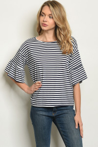 C32-B-2-T50174 NAVY STRIPES TOP 2-2-2
