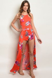 C10-A-4-J3020 RED WITH FLOWER PRINT JUMPSUIT 2-2-2