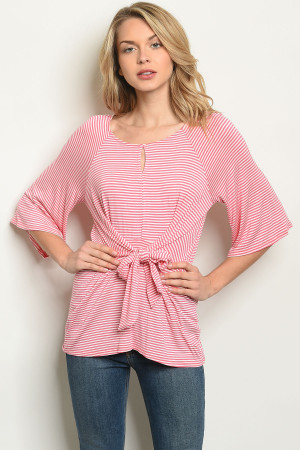 C50-B-2-T30071 CORAL STRIPES TOP 2-2-2
