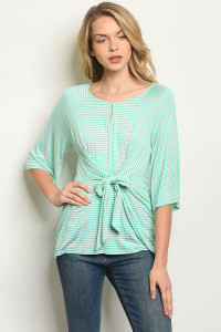 C52-B-2-T30071 MINT STRIPES TOP 2-2-2