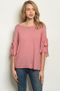C52-B-2-T50415 RED STRIPES TOP 2-2-2