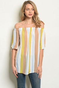 C46-B-7-T50419 TAUPE STRIPES TOP 2-2-2