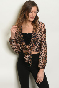 S16-11-5-T903 BROWN ANIMAL PRINT TOP 2-2-2