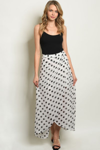 S17-11-2-S19859 WHITE BLACK WITH DOTS SKIRT 1-1-1