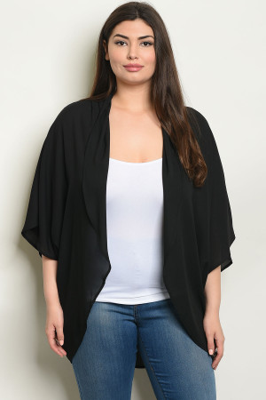 C70-A-1-C570X BLACK PLUS SIZE CARDIGAN 2-2-2